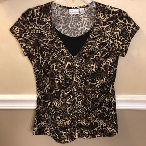 Kim Rogers animal print ruched front top